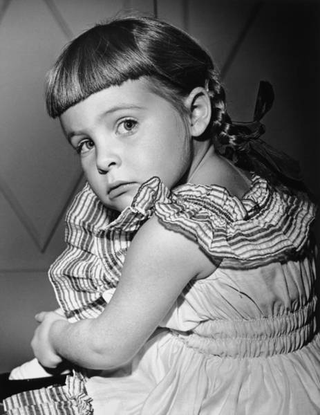 Bangs Photograph - Girl (4-5) Looking Over Shoulder, (b&w), Portrait by George Marks