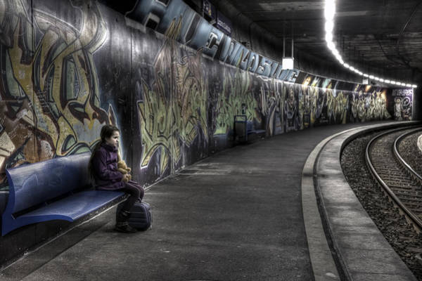 Suspended Photograph - Girl In Station by Joana Kruse