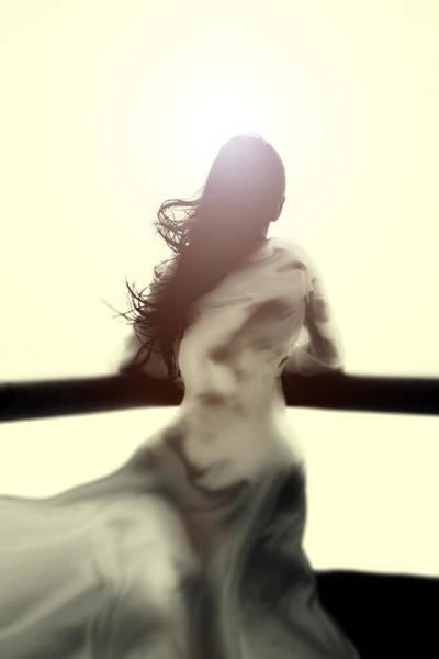 Handrail Photograph - Girl In White Dress by Joana Kruse