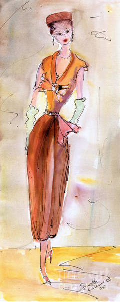 Painting - Girl With Pillbox Hat Vintage Fashion  by Ginette Callaway