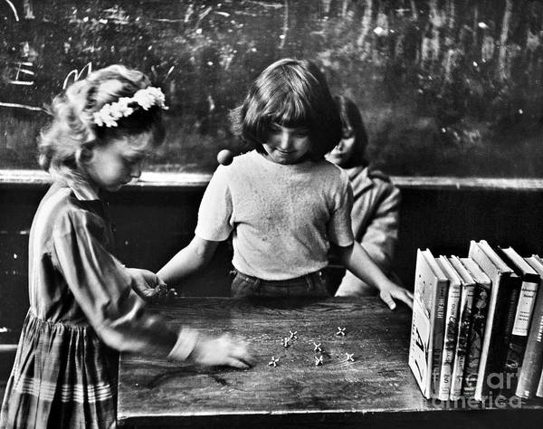 Photograph - Girls Playing Jacks, 1964 by Granger