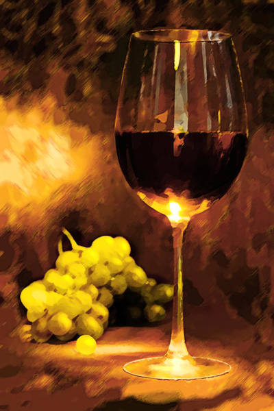 Impressionistic Vineyard Wall Art - Painting - Glass Of Wine And Green Grapes By Candlelight by Elaine Plesser