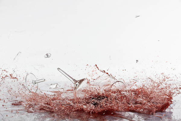 Messier Object Photograph - Glasses Of Red Wine Shattering by Dual Dual