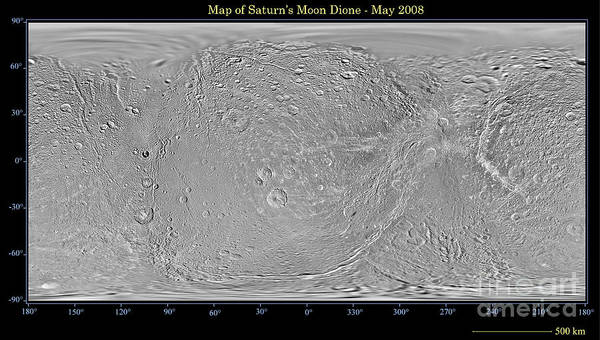 Dione Photograph - Global Map Of Saturns Moon Dione by Stocktrek Images