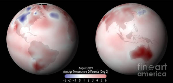 Photograph - Global Temperature Anomaly, 2009 by Science Source