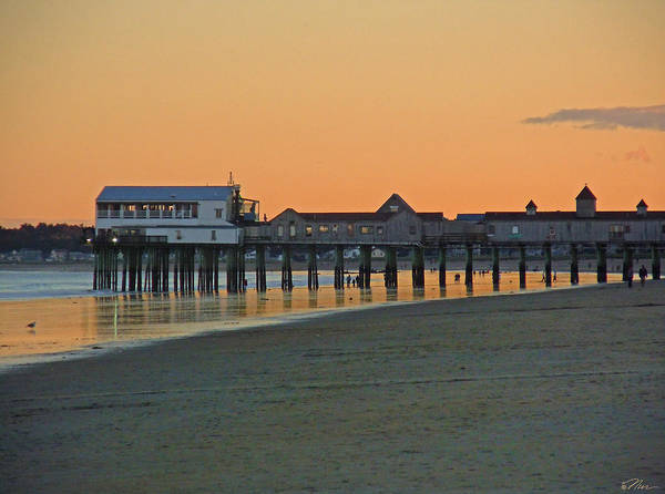 Photograph - Glow At The Pier In Old Orchard Maine by Nancy Griswold