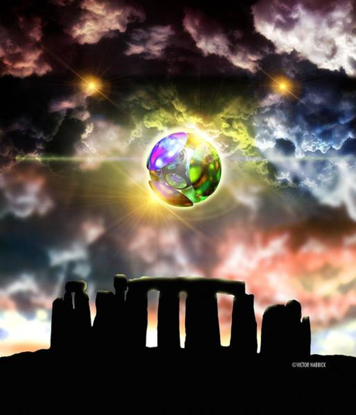 Ufology Photograph - Glowing Ball Ufo Over Stonehenge by Victor Habbick Visions