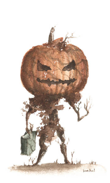 Wall Art - Painting - Goblin Tree Trick Or Treat by Sean Seal