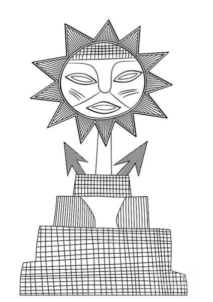 Wall Art - Drawing - God Of Sun by Michal Boubin