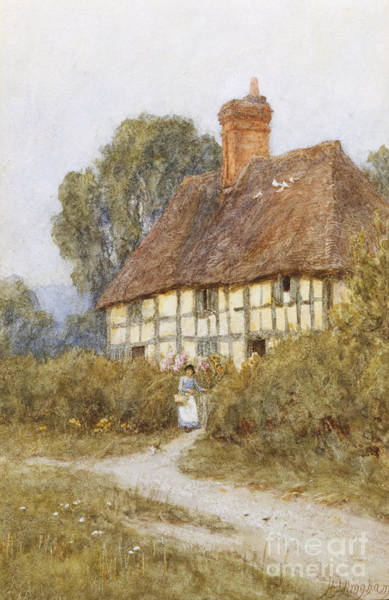 Half Timbered Painting - Going Shopping by Helen Allingham