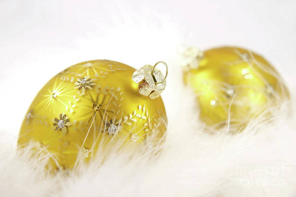 Joyous Photograph - Gold Balls With Feathers by Sandra Cunningham