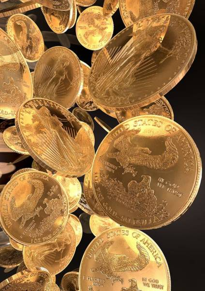 In God We Trust Photograph - Gold Coins, Computer Artwork by Animate4.comscience Photo Libary