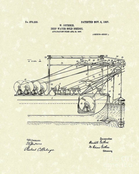 Drawing - Gold Mining 1907 Patent Art by Prior Art Design