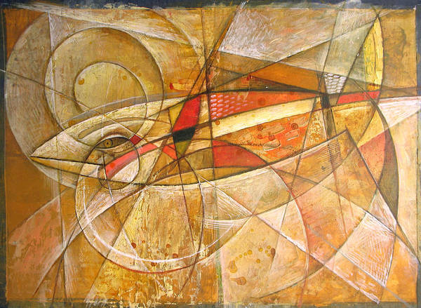 Wall Art - Painting - Golden Arrow. 2005 by Yuri Yudaev-Racei