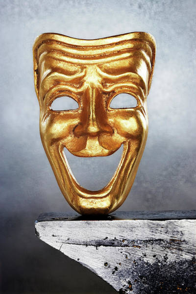 Gra Photograph - Golden Comedy Mask On Edge by David Muir