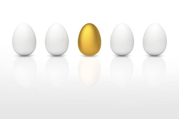 Individuality Digital Art - Golden Egg Between White Eggs by Bjorn Holland