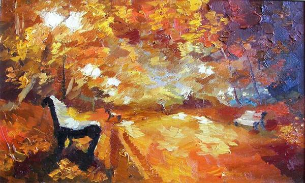 Follow Me Painting - Golden Evening. Nature.beautiful Landscape. Tree.  by Anna Sokol