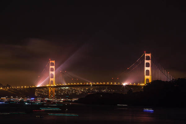 Photograph - Golden Gate 75th - After The Fireworks by Peter Dyke