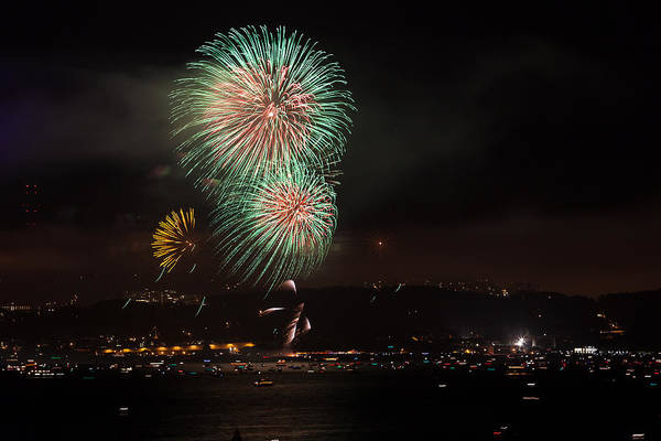 Photograph - Golden Gate 75th Fireworks 19 by Peter Dyke