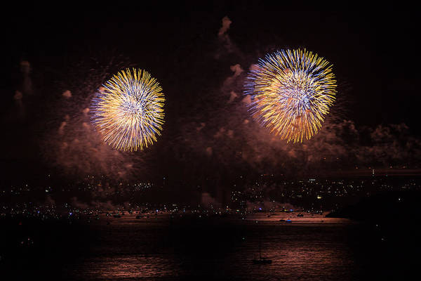 Photograph - Golden Gate 75th Fireworks 24 by Peter Dyke