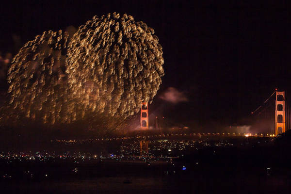 Photograph - Golden Gate 75th Fireworks 35 by Peter Dyke