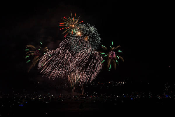 Photograph - Golden Gate 75th Fireworks 5 by Peter Dyke