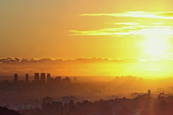 Photograph - Golden Horizon At Sunset, Los Angeles by Eric Lo