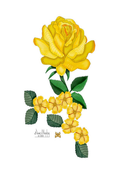 Wall Art - Painting - Golden January Rose by Anne Norskog
