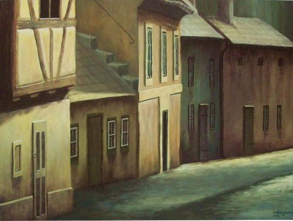 Half Timbered Painting - Golden Lane by Milena Gawlik