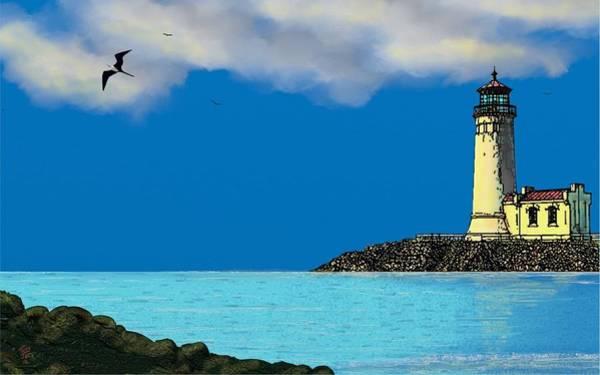 Digital Art - Golden Lighthouse by Tony Rodriguez