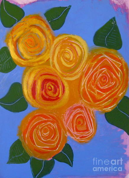 Wall Art - Painting - Golden Roses by Jane Ubell-Meyer