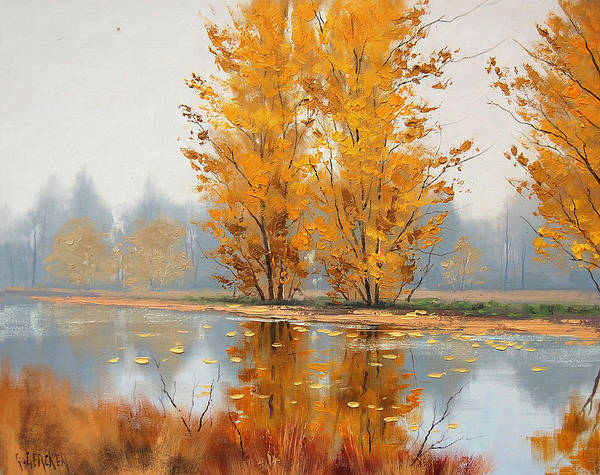 Palette Painting - Golden Stillness  by Graham Gercken