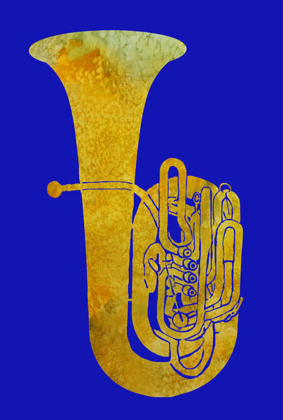 Marching Digital Art - Golden Tuba by Jenny Armitage