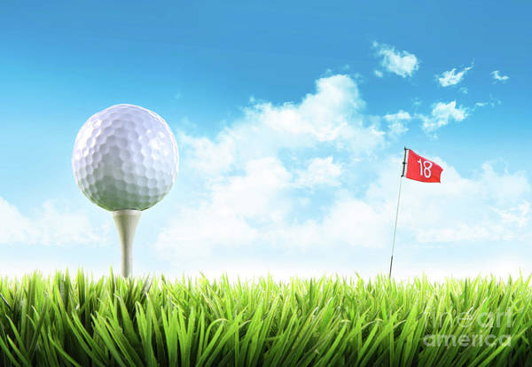 Photograph - Golf Ball With Tee In The Grass  by Sandra Cunningham
