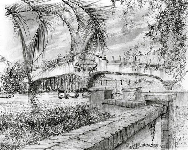 Wall Art - Drawing - Golf Cart Bridge by Jim Hubbard