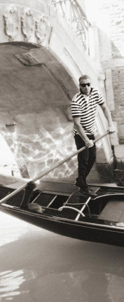 Photograph - Gondolier 2 Sepia by Vicki Hone Smith