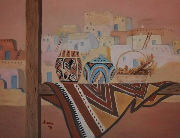 Native American Blanket Painting - Gone To Work by Alanna Hug-McAnnally