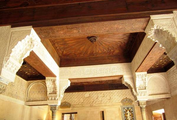 Photograph - Gorgeous Antique Detailed Ceiling With Designed Moulding Spain by John Shiron