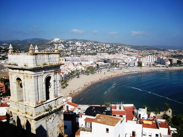 Photograph - Gorgeous Panoramic View Of Peniscola Castle Bell Tower And Mediterranean Beach In Spain by John Shiron