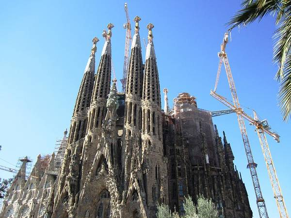 Photograph - Gorgeous Sagrada Familia Cathedral II Endures Cranes For Renovation And Upgrading In Barcelona Spain by John Shiron