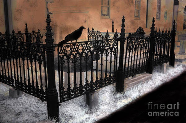 Church Yard Wall Art - Photograph - Gothic Cemetery Raven by Kathy Fornal