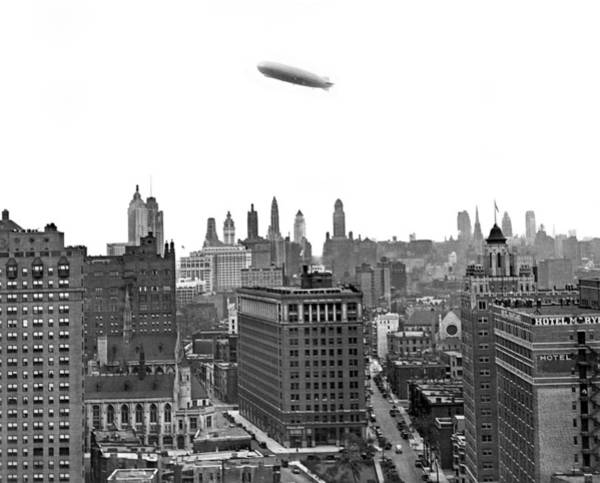 Zazzle Photograph - Graf Zeppelin Over Chicago by Underwood Archives