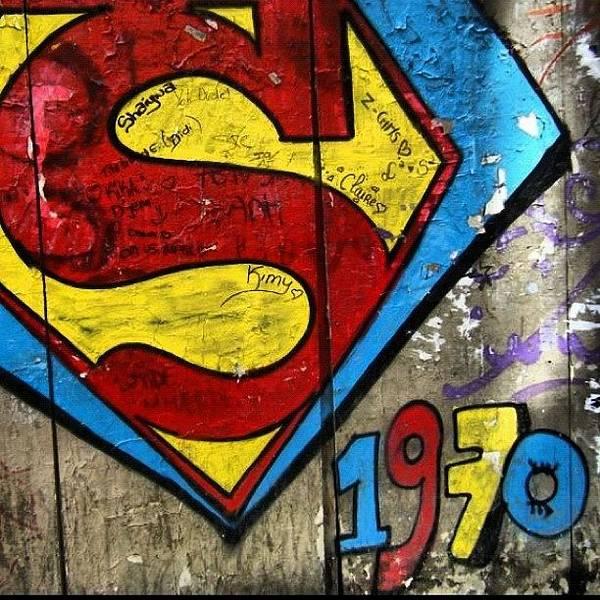 Superhero Wall Art - Photograph - #grafetti #superman #1970 #paris by Jenny Mills