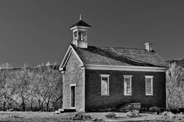 Photograph - Grafton Schoolhouse - Bw by Christopher Holmes