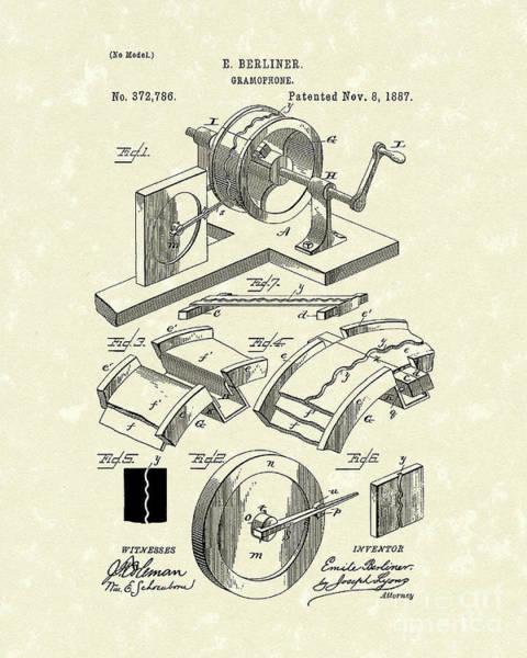 Drawing - Gramophone 1887 Patent Art by Prior Art Design