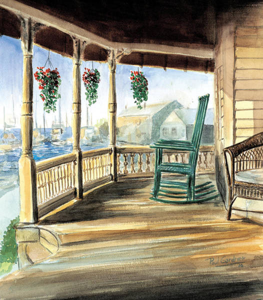 Rocking Chairs Painting - Gram's Porch by Paul Gardner