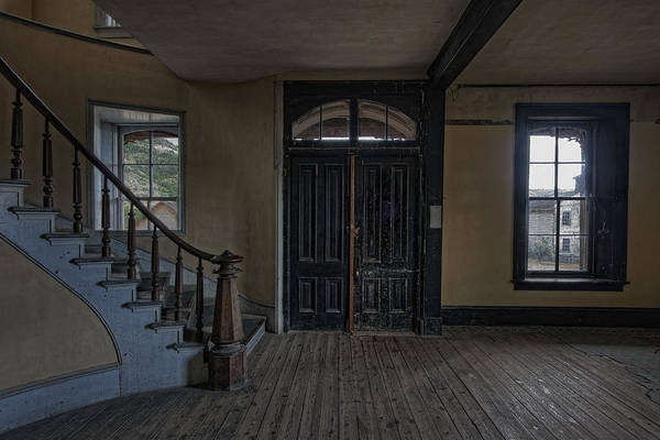Ghosttown Photograph - Grand Staircase And Entrance To Meade Hotel - Bannack Ghost Town by Daniel Hagerman