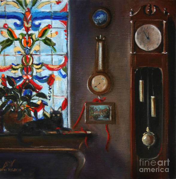 Wall Art - Painting - Grandfather Clock And Cat by Stella Violano