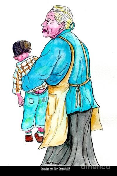 Mixed Media - Grandma With Grand Child by Philip Bracco