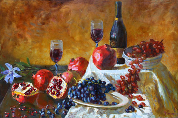 Wall Art - Painting - Grapes And Pomgranates by Ylli Haruni